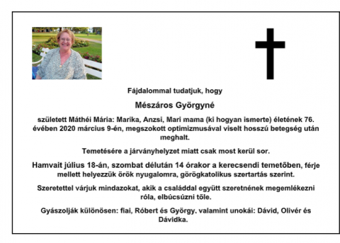 gyászjelentés- Mészáros Györgyné